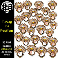 Turkey Pie Fractions Clip Art