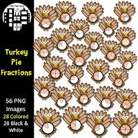 Turkey Pie Fractions Clip Art