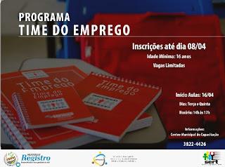 Inscrições abertas para o Programa Time do Emprego em Registro-SP