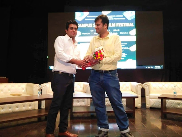 Felicitation at Delhi University's Hans Raj College after conducting a workshop on screenwriting