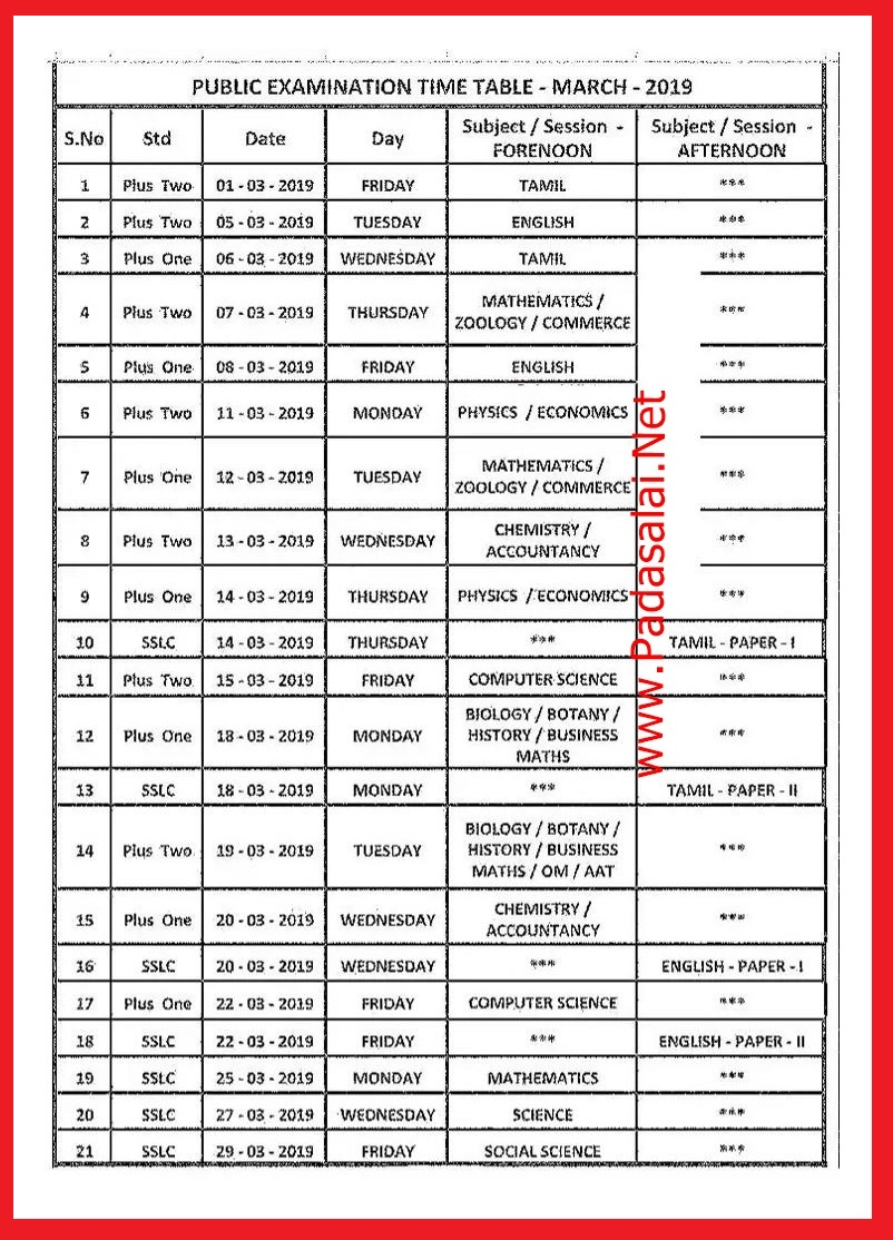11th Public Exam Time Table 2019 Tamilnadu Schools ~ Padasalai No 1