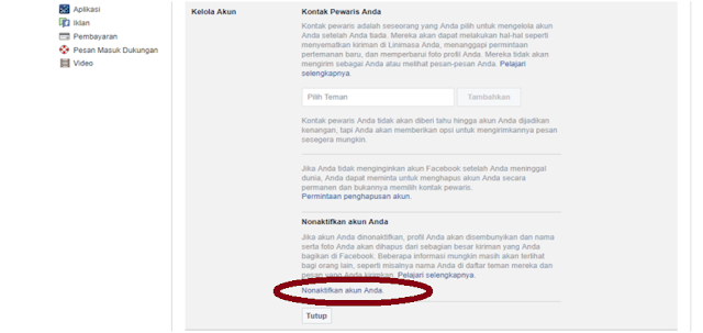 Nonaktifkan Akun Facebook