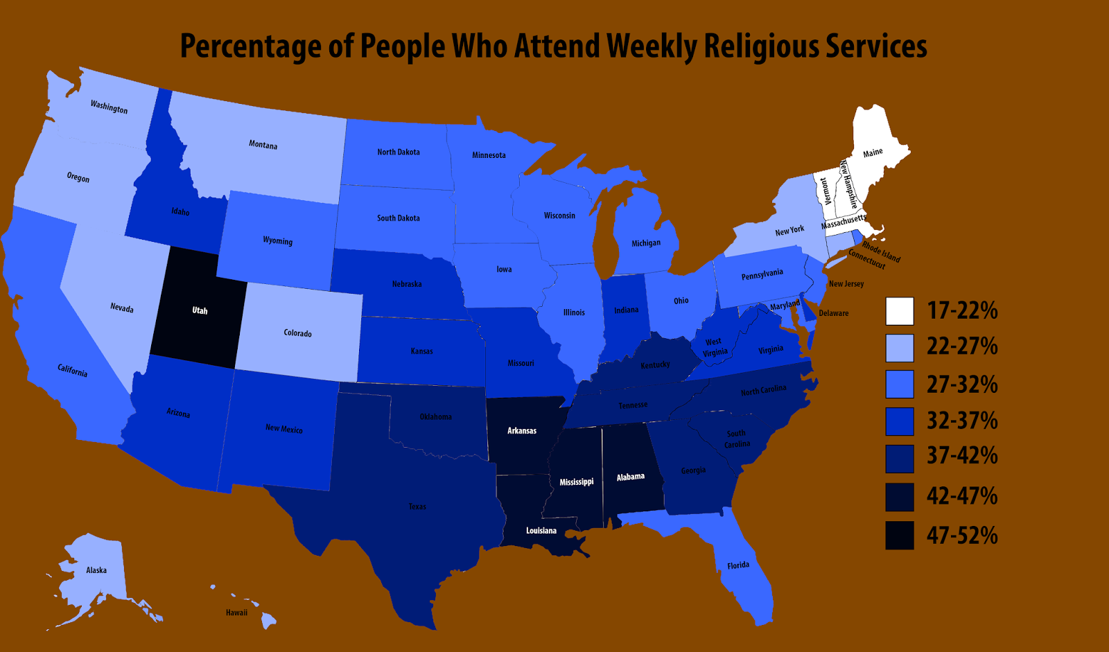 Percentage of people who attend weekly religious service