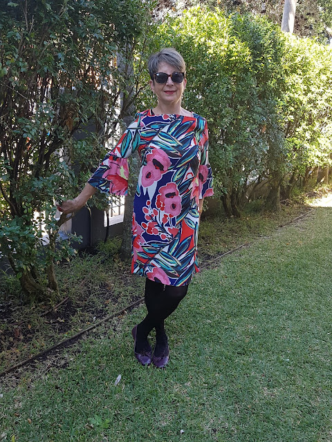 Marks-and-Spencer-floral-print-flared-sleeves-tunic-dress
