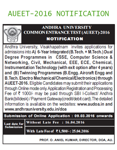 AUEET,Andhra University,Engineering Entrance Test
