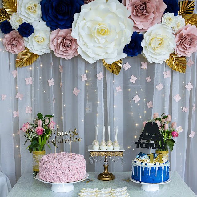 Cake Table and Paper Flower BackDrop by Ilovedoingallthingscrafty