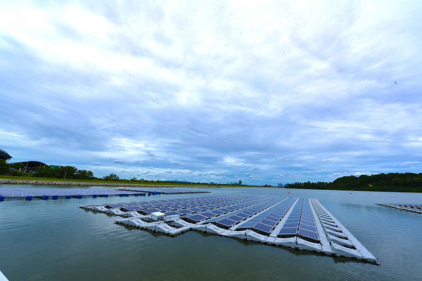 The one-hectare floating solar PV test bed on Tengeh Reservoir.