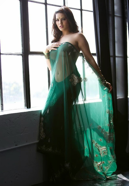 Sunny Leone Stripping Her Green Saree-3483