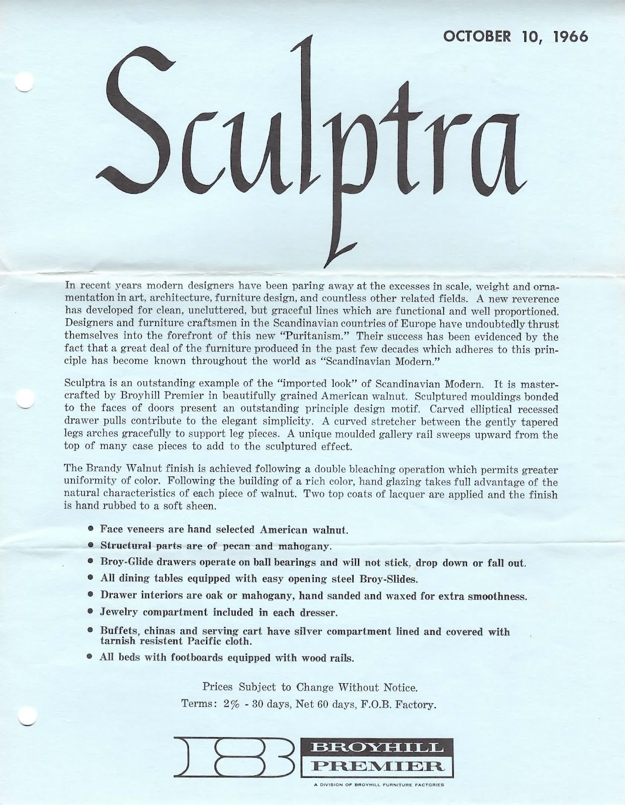 Mad For Mid Century Vintage Broyhill Sculptra Sales Letter