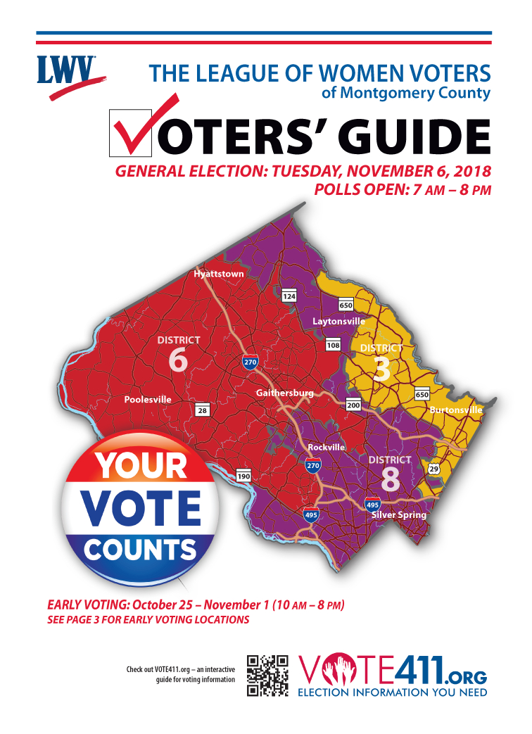 the league of women voters of montgomery county publishes the voters guide that includes information on voting candidates responses to questions on