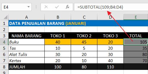 Rumus Excel Penjumlahan Antar Kolom Dengan Fungsi SUBTOTAL