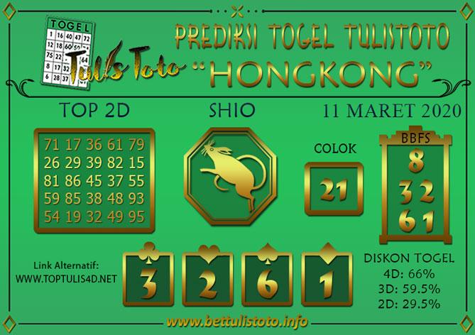 Prediksi Togel HONGKONG TULISTOTO 11 MARET 2020