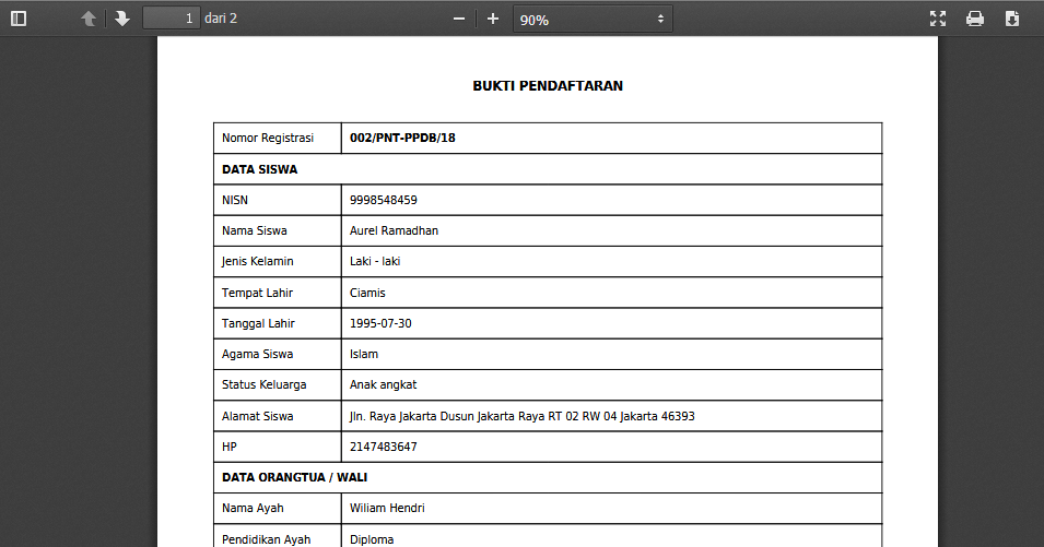 Konversi Hasil Pendaftaran Aplikasi PPDB versi 3 ke PDF