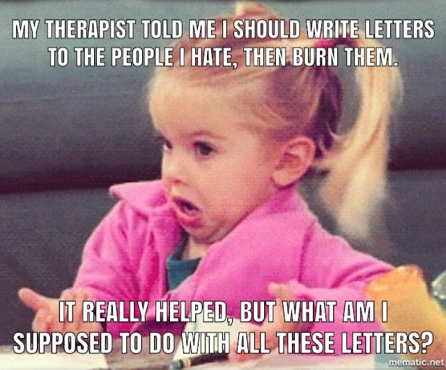 Funny letter therapy meme joke picture