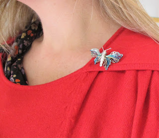 Bee pin, silver blue butterfly