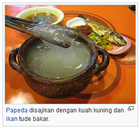 Papeda disajikan dengan kuah kuning dan ikan tude bakar wisataarea.com
