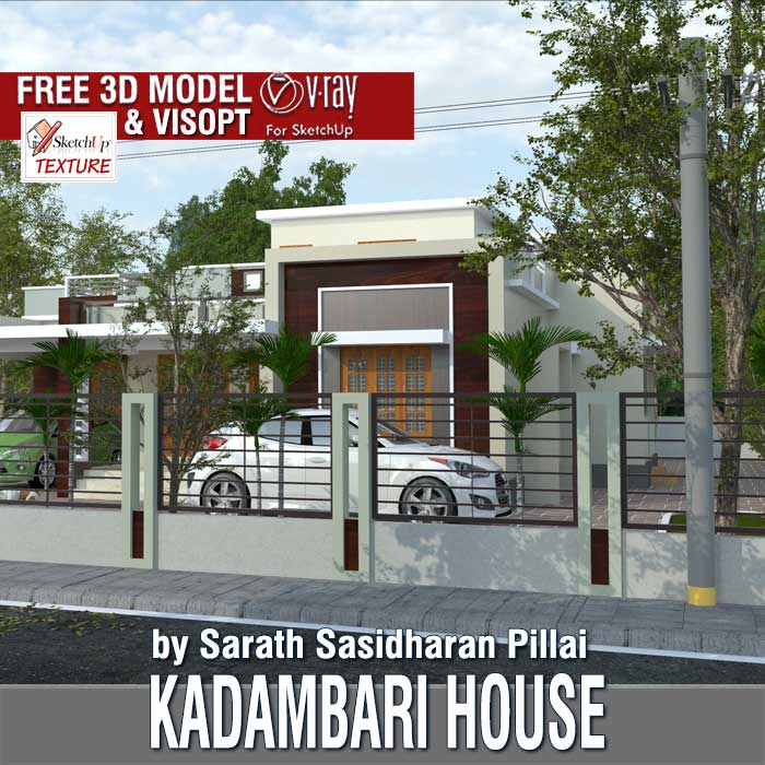 Sketchup free 3d model kadambari house and vray exterior visopt