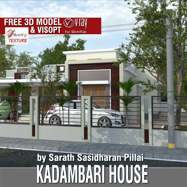 sketchup-free-3d-model-Kadambari-House and vray exterior visopt
