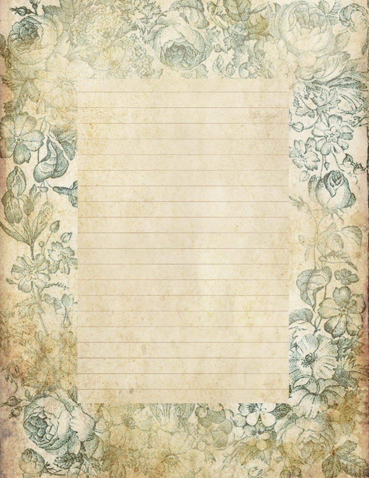 Blue Floral .  Lined Stationary Paper