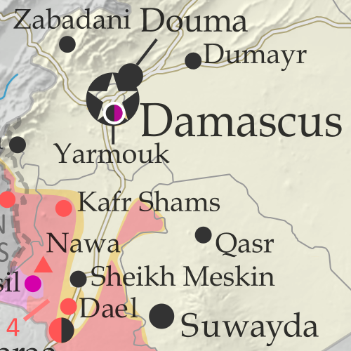 Map of Syrian Civil War (Syria control map): Fighting and territorial control in Syria in April 2018 (Free Syrian Army rebels, Kurdish YPG, Syrian Democratic Forces (SDF), Hayat Tahrir al-Sham (HTS / Al-Nusra Front), Islamic State (ISIS/ISIL), and others). Includes Russia-Turkey-Iran agreed de-escalation zones and US deconfliction zone, plus recent locations of conflict and territorial control changes, such as Afrin, Douma, Dumayr, Sabaa Biyar, and more. Colorblind accessible.