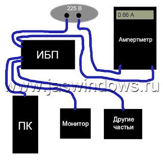 Схема измерения мощности потребления тока компьютера.
