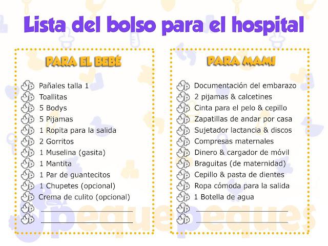 Lista del bolso para el hospital ¿Qué necesito para el día del parto? - IMPRIMIBLE