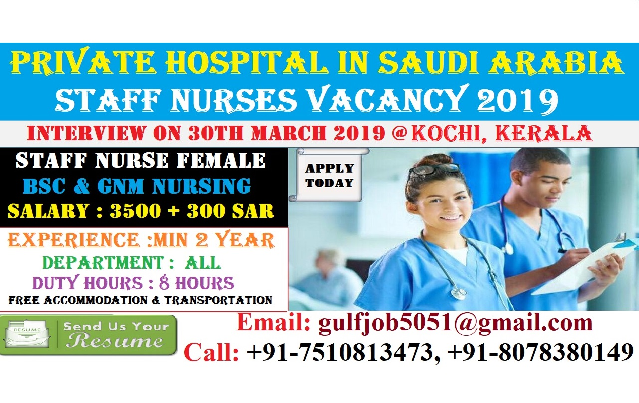 URGENTLY REQUIRED GNM STAFF NURSE FOR REPUTED PRIVATE HOSPITAL IN SAUDI ARABIA