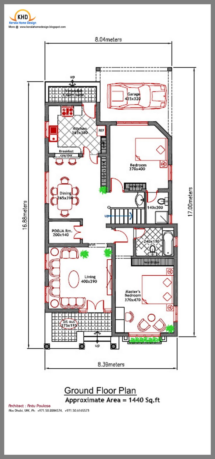 House plan and elevation 2020 sq ft kerala home for 8 sqm room design
