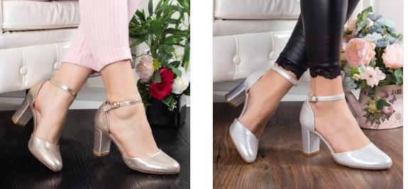 Pantofi Habini aurii, argintii cu toc gros comozi eleganti