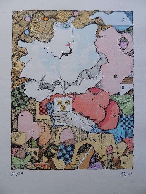 Eduard Alcoy litografía serie tarot mujer jugando las cartas