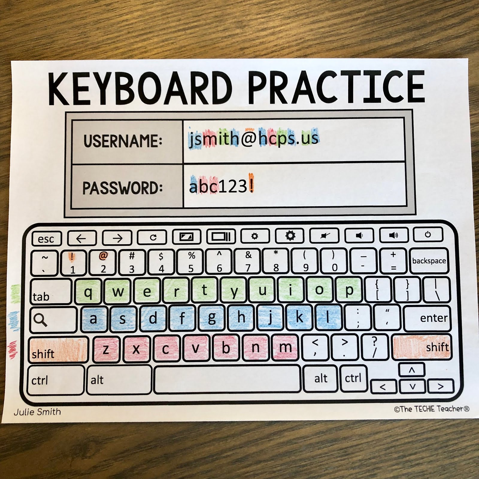 Chromebook Keyboard Printable Practice Sheets for students to practice logging in with their usernames and passwords.