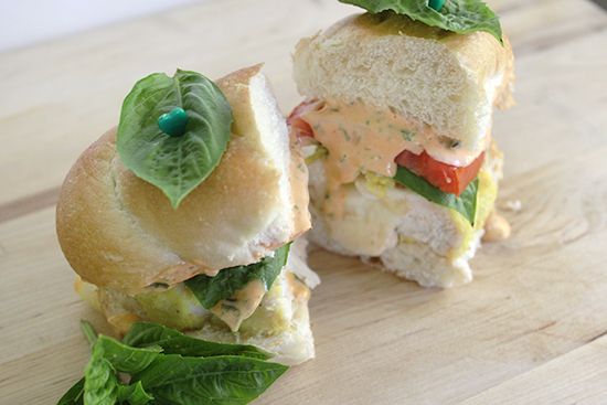 Chicken Caprese Sandwiches with Bold and Zesty Basil Sauce