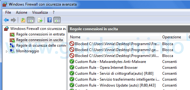Windows Firewall blocco internet programmi in uscita