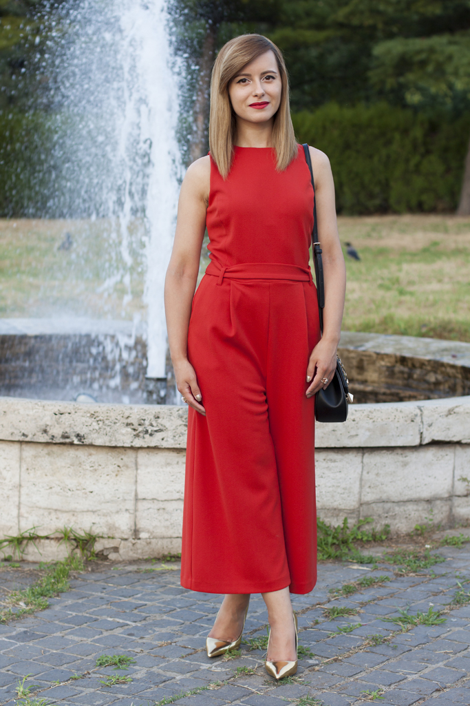 the stylish red jumpsuit