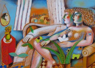 Ένα ζευγάρι κάθεται δίπλα δίπλα σε έναν καναπέ...