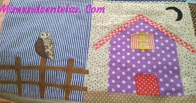 aplicaciones de casa, valla y buho para manta quilt en patchwork