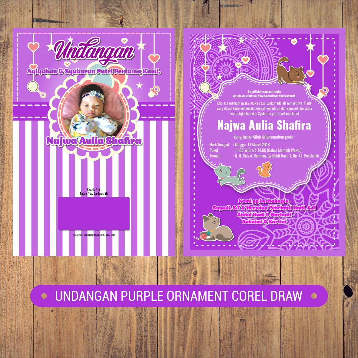 Indonesia Corel Draw Undangan Aqiqah Purple Ornament Corel Draw