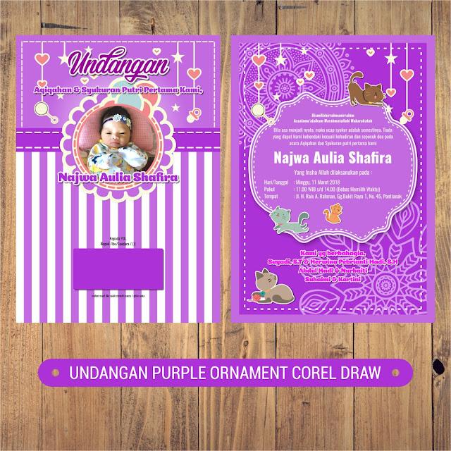 Undangan Aqiqah Purple Ornament Corel Draw