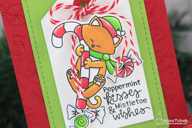 Peppermint Kisses Card by Juliana Michaels featuring Newton's Nook Designs Newton's Candy Cane Stamp Set