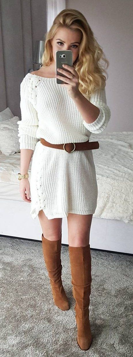 cool outfit idea : white sweater dress + over the knee boots