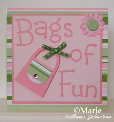 Pink and green handmade handbag greeting card