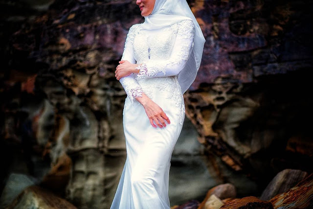 malay bridal dress white