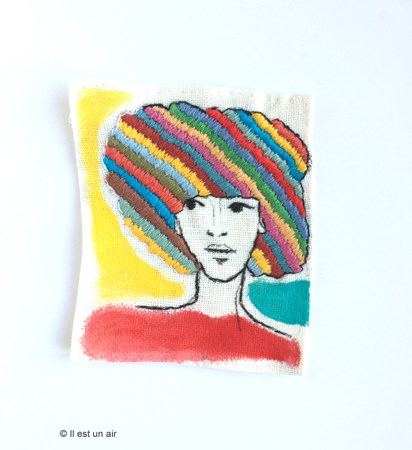 Portrait afro brodé - rayures