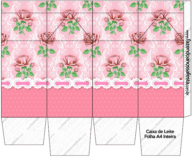 Shabby Chic with Pink Roses: Free Printable Boxes.