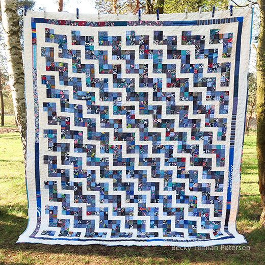Scrappy Rail Fence Quilt Free Pattern Designed by Becky Tillman of QuiltedTwins