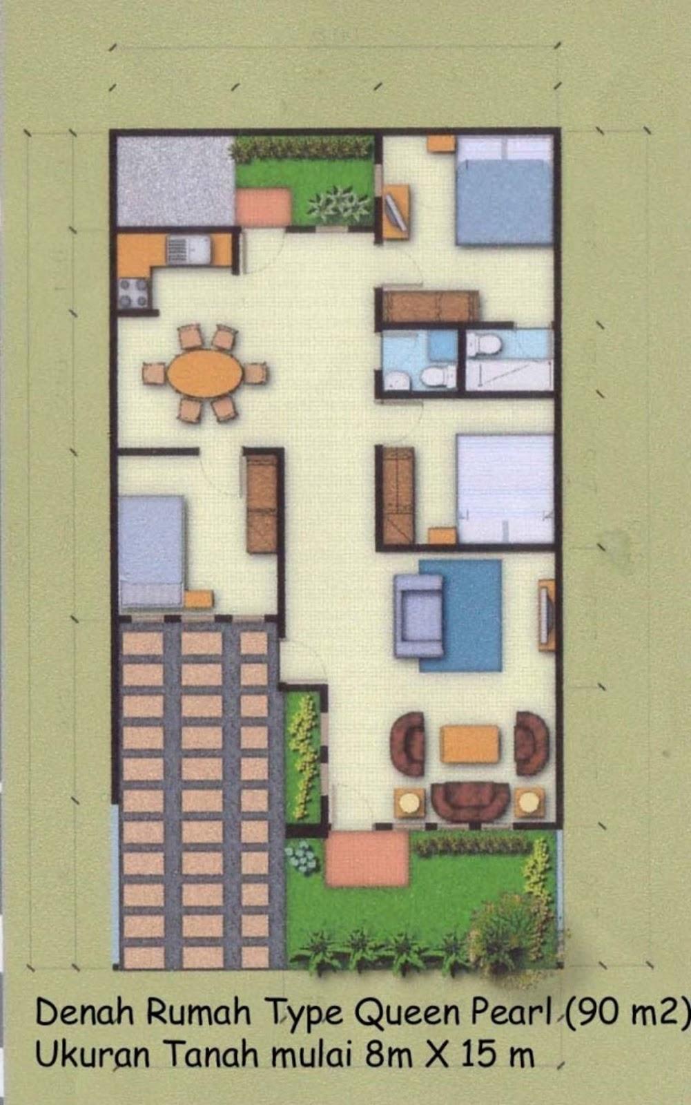 Gambar Denah Rumah Minimalis Type 90 Idaman