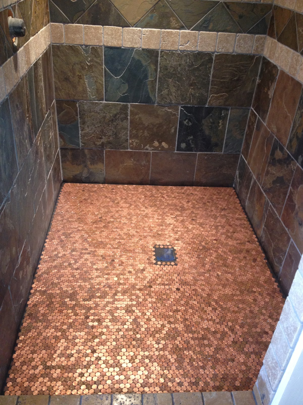 penny tile bathroom floor a building we shall go heads up 19945