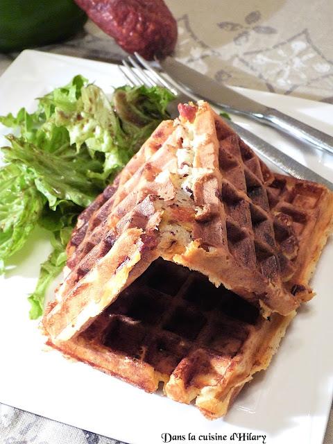Gaufres salées au chorizo, poivrons grillés et comté - Dans la cuisine d'Hilary