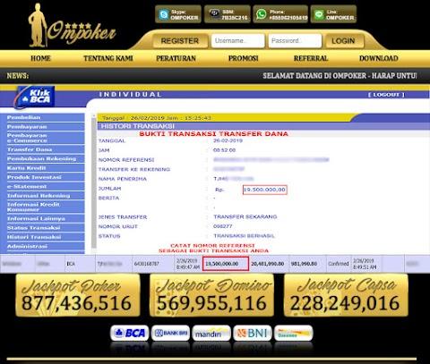 Selamat Kepada Member Setia Ompoker WD Rp 19.500.000