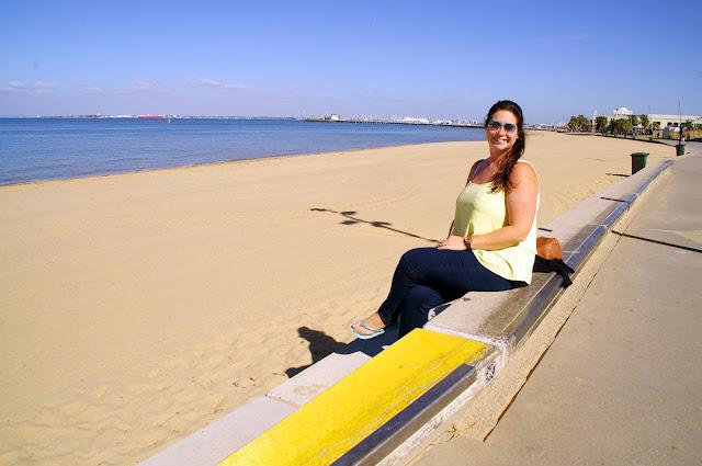 Girl at St Kilda Beach Melbourne